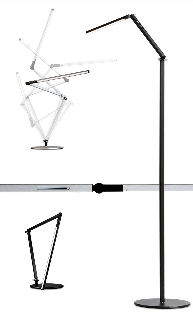 Z-BAR FLOOR; Z-Bar Floor is an ultra-thin and flexible floor lamp that fits any room and décor. Need ambient light? Turn the LED head to the ceiling. Need reading light? Pull the LED head down to sofa or chair level. Need no light at all? Fold the LED head against the body and you have a slim, sculpture-looking bar • TPL LIGHTING • MERGING LIGHTING WITH DESIGN • TPLLIGHTING.COM • TORONTO, CANADA •