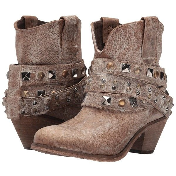 Corral Boots P5020 (Antique Saddle) Women's Boots ($128) ❤ liked on Polyvore featuring shoes, boots, ankle boots, corral boots, strappy boots, short boots and slip on boots