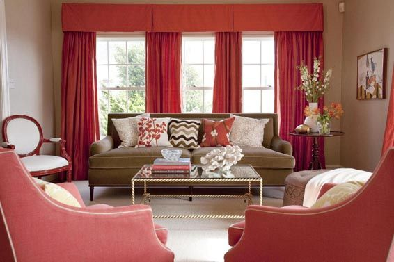 coral & brown living roomRed Living Room, Coral, Living Rooms, Livingroom, Red Curtains, Interiors Design, Room Ideas, Colors Schemes, Windows Treatments