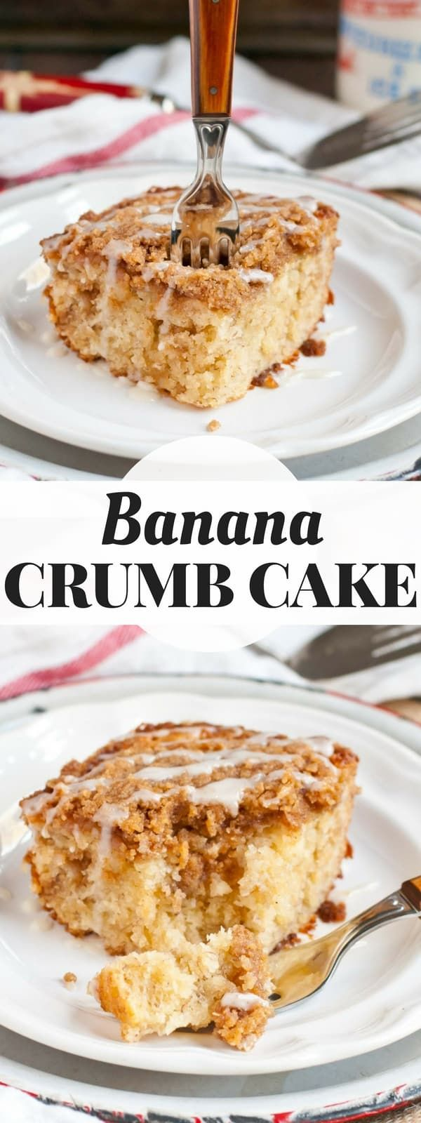 This Banana Crumb Cake is ultra moist with a thick layer of buttery brown sugar crumbs on top.