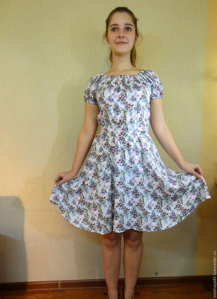 """Купить Платье """" Цветочная поляна"""" - короткое платье, Платье нарядное, платье летнее"""