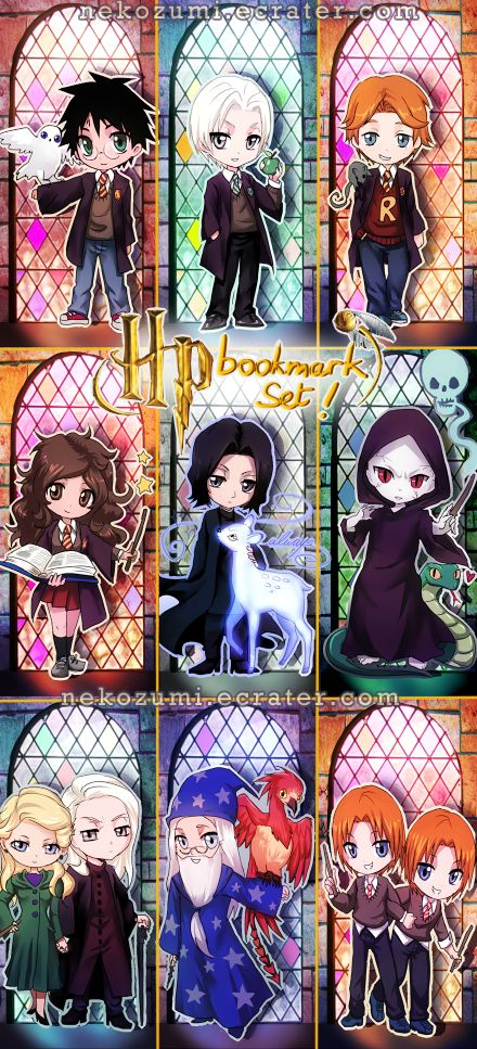 Harry Potter Bookmarks by Nekozumi! Chibi!!!!!! LOVE LOVE LOVE LOVE LOVE!!!!