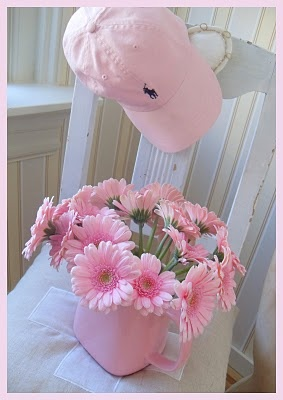 Pale pink. This is so me gerber daisies and my pink Harley ball caps.