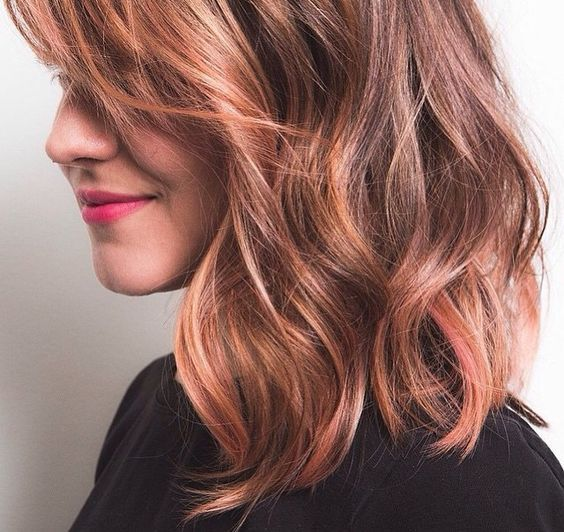 Rose gold brunette. Manic Panic Cotton Candy Pink plus Psychedelic Sunset (peach). One part each color to two parts conditioner (thick white, any brand), add more conditioner for paler color: