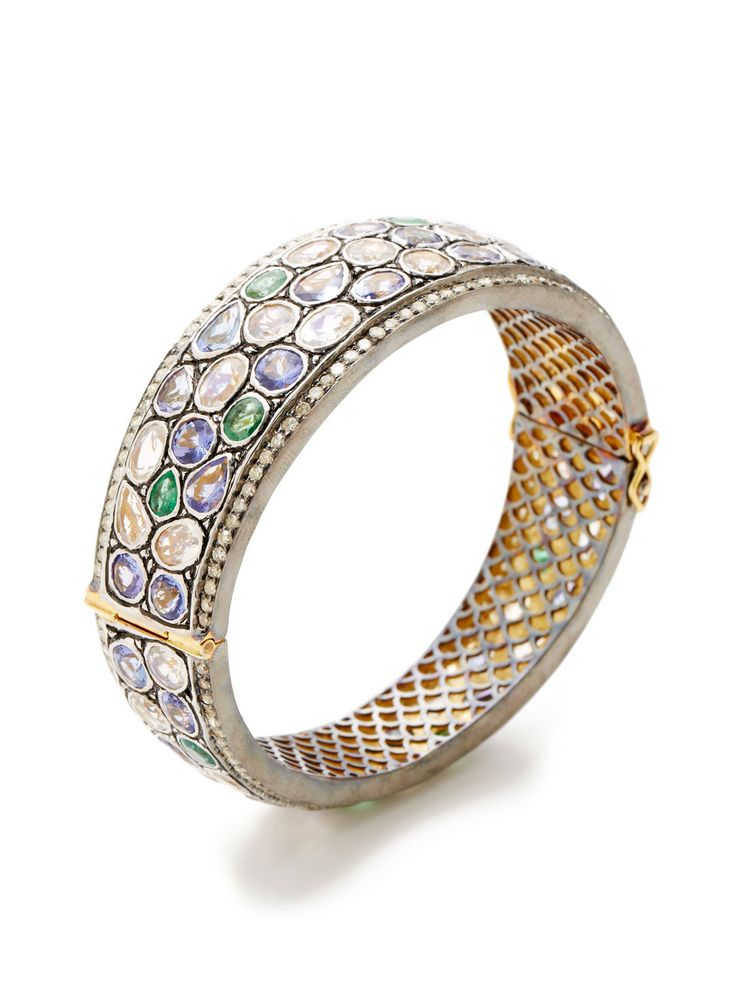 Multi-Cut Rainbow Moonstone, Emerald, & Tanzanite Bangle Bracelet by Amrapali at Gilt