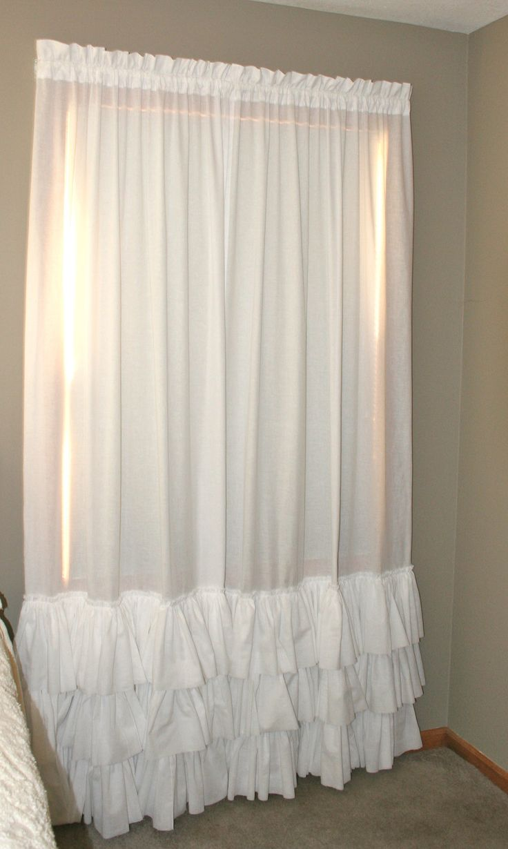 White Triple Ruffled Pair Curtain Panels Heirloom Shades
