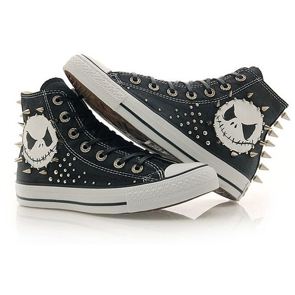 SALE Studded Cutom converse - Nightmare before christmas jack ($198) ❤ liked on Polyvore
