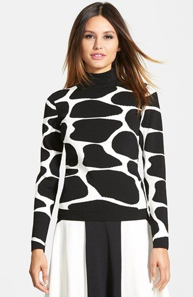 Pink Tartan Giraffe Print Turtleneck Sweater available at #Nordstrom