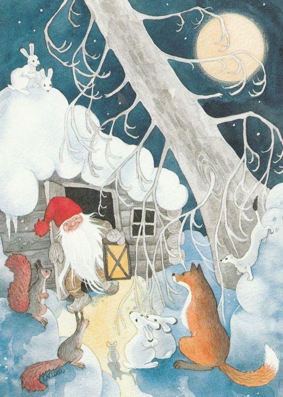 Elf - de vos - eekhoorns - bunnies - cottage - L. Nevakivi - Huuto.net