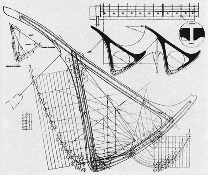 Croquis del cálculo del centro de gravedad de la viga-hueso por Miguel Fisac. Imagen cortesía del Centro de Estudios Hidrográficos. Señala encima de la imagen para verla más grande.