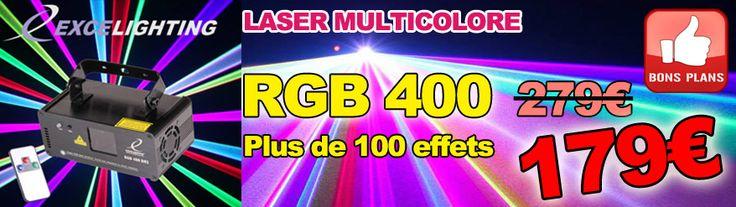 Laser RGB 400 DMX à 179€ ! Un laser accrocheur Multicolore RGB utilisant des balayeurs de haute qualité.  Mouvements sans à coups et continus, plus de 100 effets volumétriques, formes géométriques, tunnels, plafonds … Shows laser préprogrammés merveilleux adaptés à toute utilisation : Salles d'attente bar, discothèques, DJ mobiles etc.  Laser de classe 3B basé sur un laser Rouge 650nm 200mW, Vert 532nm 50mW et Bleu 445nm 150mW. http://www.dailymusic.fr/jeux-de-lumieres/laser-excelighting-rg