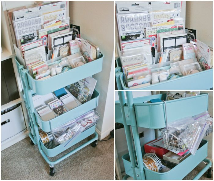 a turquoise RASKOG cart from Ikea
