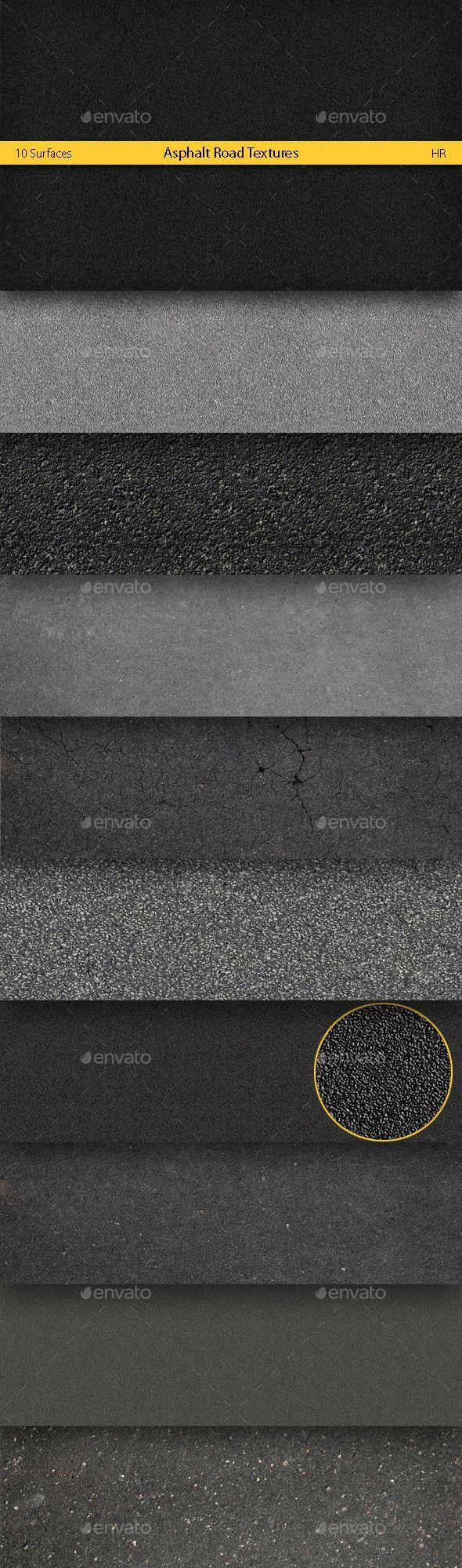 Asphalt Road Textures Backgrounds by artremizov Ten different realistic textures Asphalt Road Surface. Asphalt Road Styles. Great for your creativity, for website, 3d programs,
