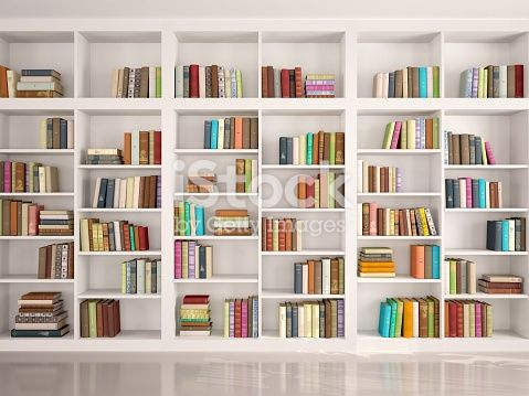3d illustration of White bookshelves with various colorful books in