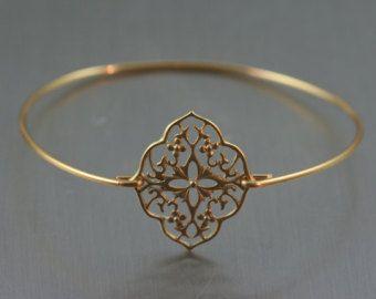 Boho estilo brazalete de cobre amarillo de oro / / oro pulsera / / Kite Shield / / filigrana pulsera / / regalos de Dama de honor / / gitana Bohimian joyería