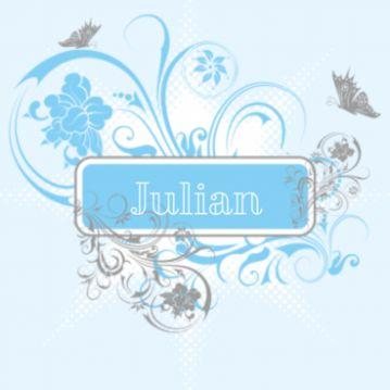 Jongensgeboortekaartje met trendy ontwerp met blauw-grijze bloemen en vlinders.