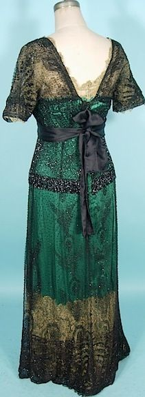 "1911/1912 Exquisite Black Jet Beaded ""Titanic"" Edwardian Gown"