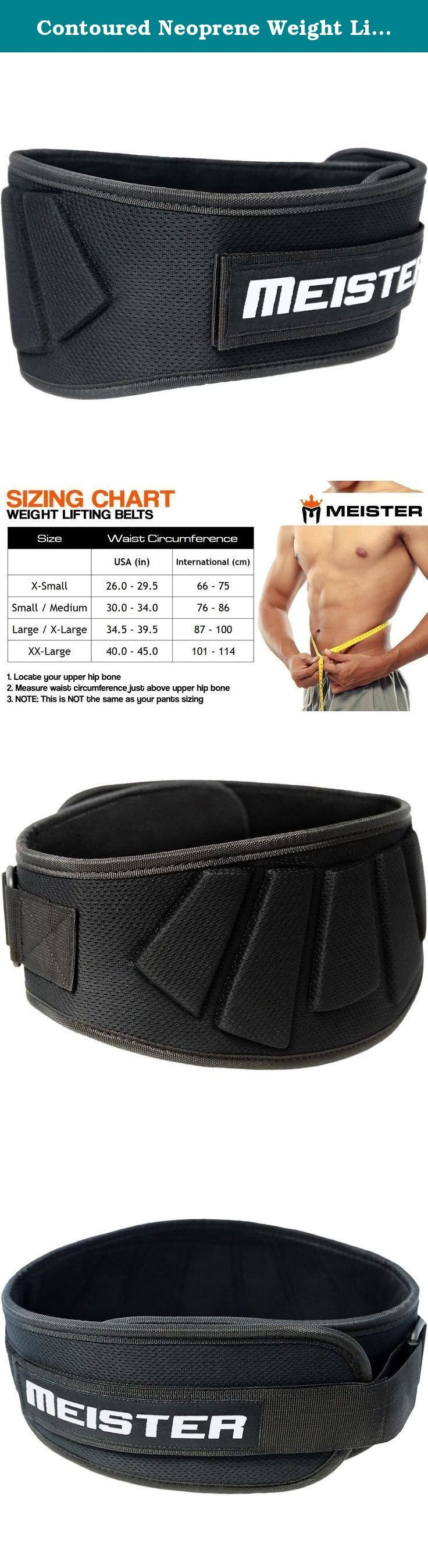 "Contoured Neoprene Weight Lifting Belt 6"" Back Support - Small/Medium. The Meister Neoprene Contoured Weight Lifting Belt is the perfect belt for anyone looking for both support and mobility. The neoprene body is light weight yet super-strong, an improvement over traditional leather belts. This Meister lifting belt's contoured design provides 6"" of back support where you need it most. The over-sized velcro strap and roller buckle keep the belt tight throughout your workout and allow for…"