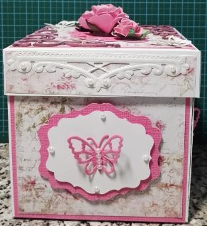 003b_Explosion Box with Roses and Butterflies_Side View. Handmade by Diane Prinsloo (Lubbe).