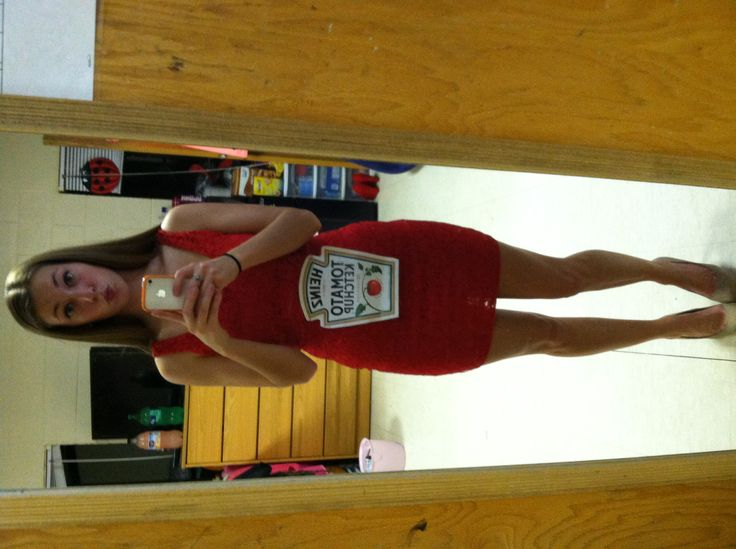 simple Halloween costume- red dress and a print out of a ketchup label!