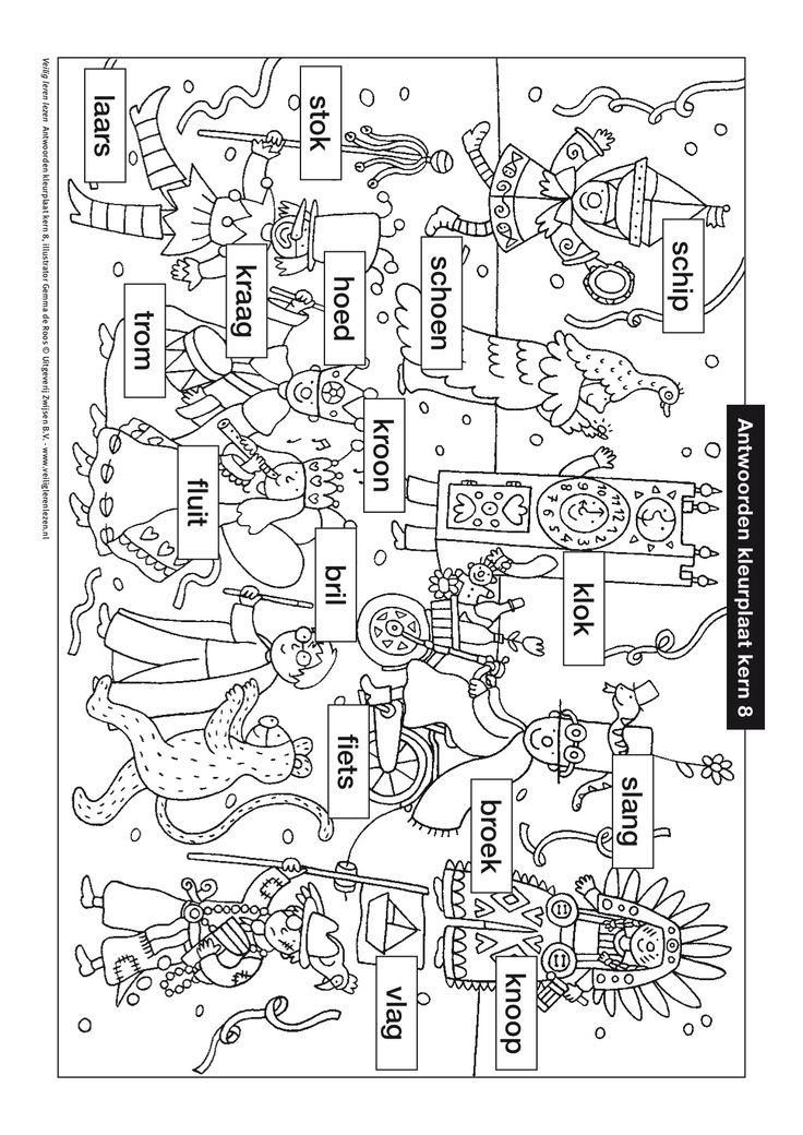 kleurplaat kern 8 met opdracht veilig leren lezen in