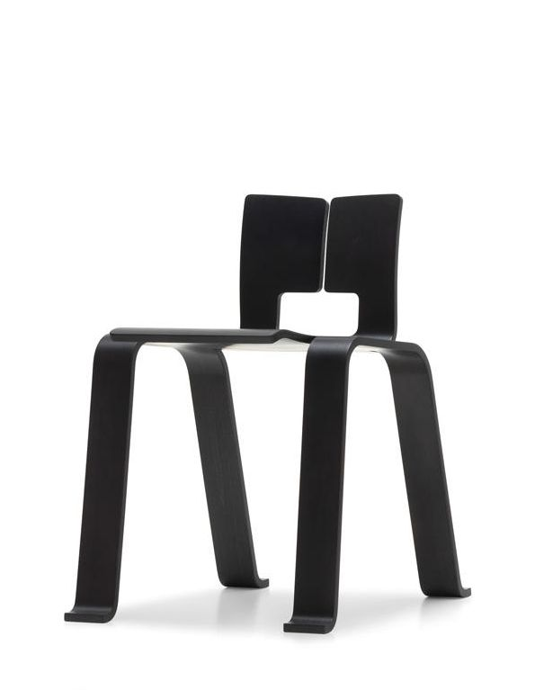 Charlotte Perriand; Lacquered Molded Plywood 'Ombre Tokyo' Stacking Chair, 1954.