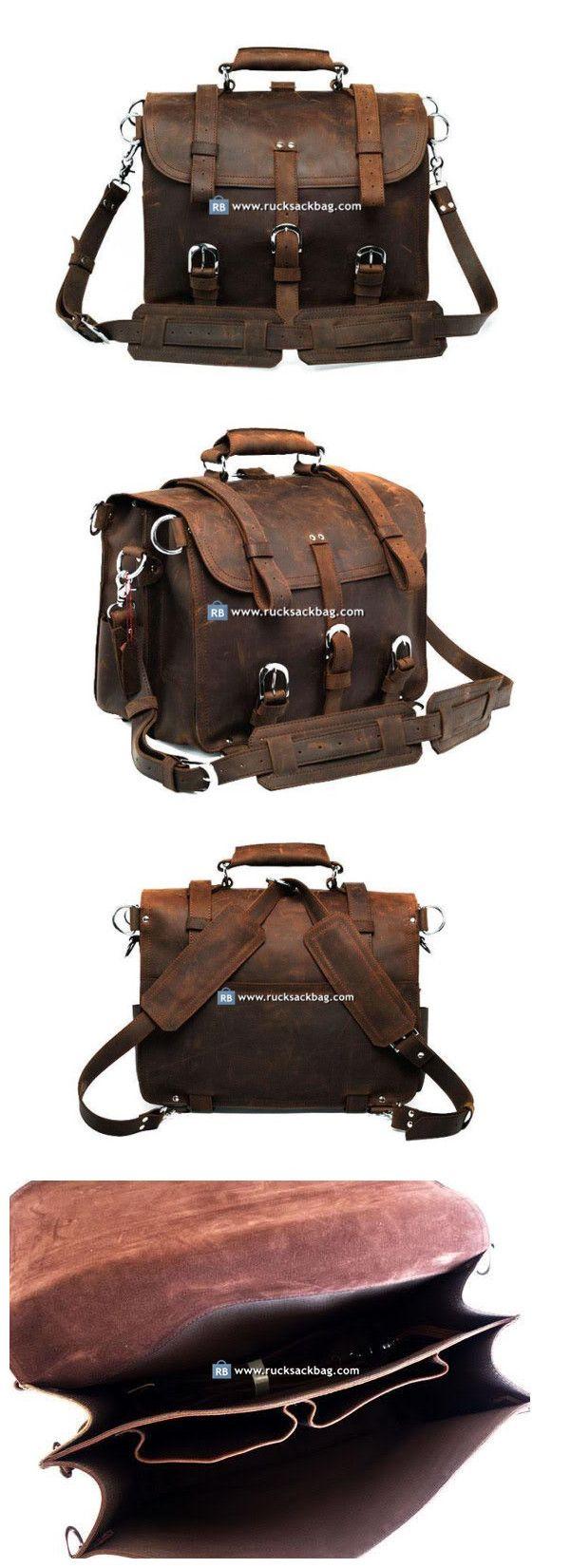 """Large Rucksack 17"""" Leather Briefcase Messenger Bag Laptop"""