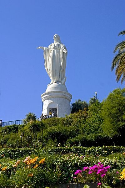 Santiago de Chile. View of Virgen of Cerro San Cristobal