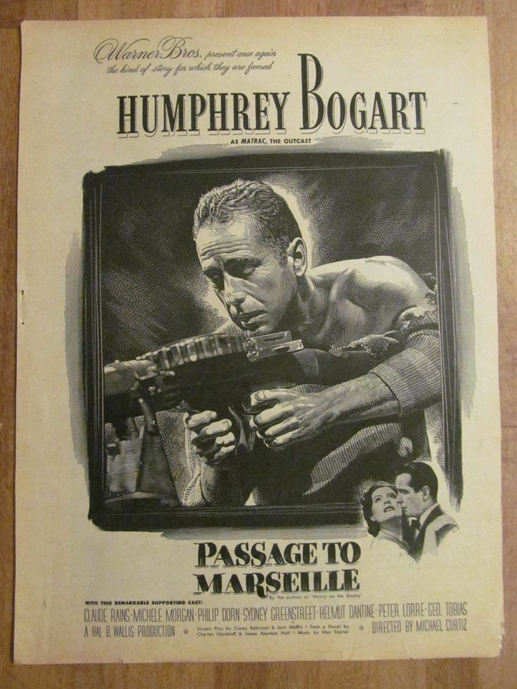 Humphrey Bogart, Passage to Marseille, Full Page Vintage Promotional Ad