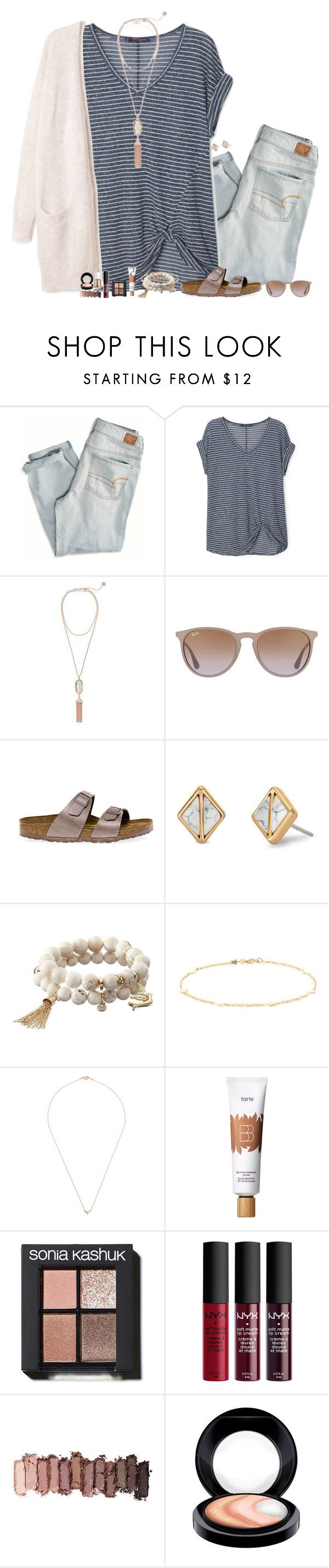 """Does anyone want me to do a face reveal?"" by lovelyl4uren ❤ liked on Polyvore featuring American Eagle Outfitters, Violeta by Mango, Kendra Scott, Ray-Ban, Birkenstock, Stella & Dot, Apt. 9, Luis Miguel Howard, tarte and Sonia Kashuk"