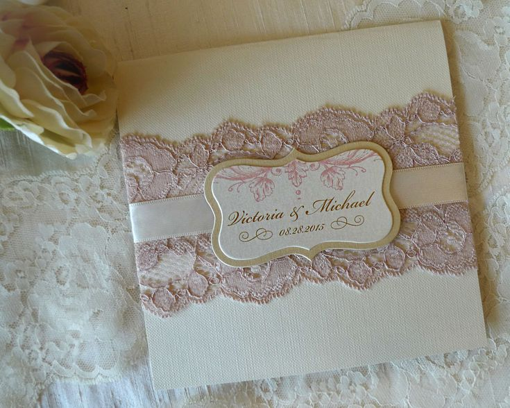 Pink and Gold Wedding Invitation.Lace Wedding invitation (SAMPLE) by IDoConcepts on Etsy