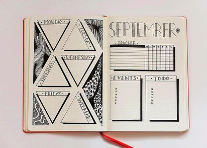 Bujo, Bullet Journal, Inspiration, Idea, Ideen, Bullet Journal Layout, Planner, Weekly, Weeklyspread, Bujoweekly, Wochenübersicht, Woche, Calender, Kalender, zentangle