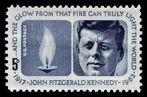 The 5-cent John F. Kennedy memorial stamp was issued on May 29, 1964, the late president's 47th birthday.