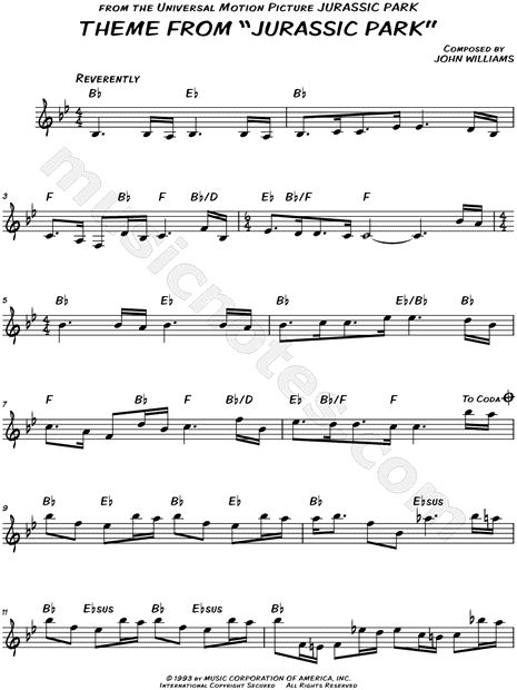 """""""Theme from Jurassic Park"""" from 'Jurassic Park' Sheet Music (Flute, Violin, Oboe or Recorder) - Download & Print"""