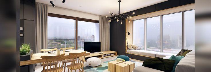 Questo appartamento contemporaneo schiocca con gli accenti del turchese