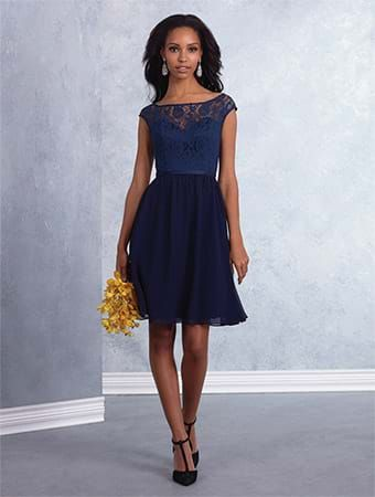 Alfred Angelo Style 7430: short bridesmaid dress with lace bodice and A-line skirt