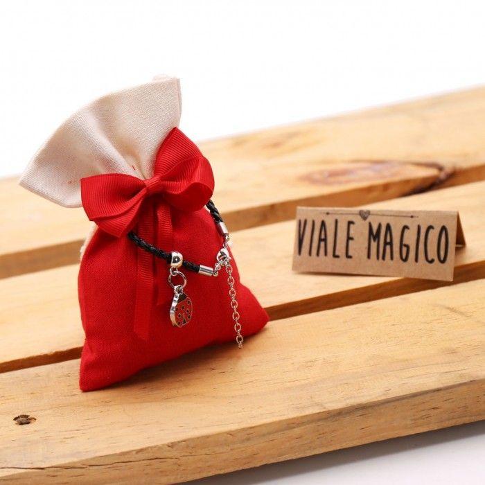 Bomboniere Mini Coccinella Fortunata A Pois Bracciale Compleanno Con Sacchetto Idea Ricordini Laurea Originali E Pensierini C Coccinella Bomboniere Bomboniera