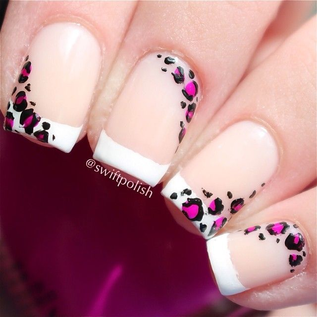 Instagram photo by swiftpolish #nail #nails #nailart cheetah French tip black white purple