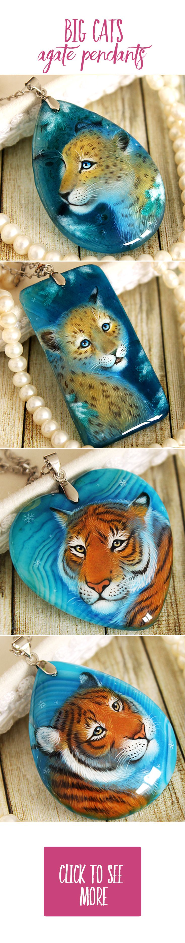 Cute leopard and tiger pendants handmade painted by oil paints agate and cornelian stones  ach pendant is unique, I don't make any copy. You can buy it in my Etsy shop, I make sales each month. Usually items sells very fast, so subscribe me in social media and you always will be informed about all sales and items! My nickname on Facebook, Instagram and Devianart is same - LunarFerns