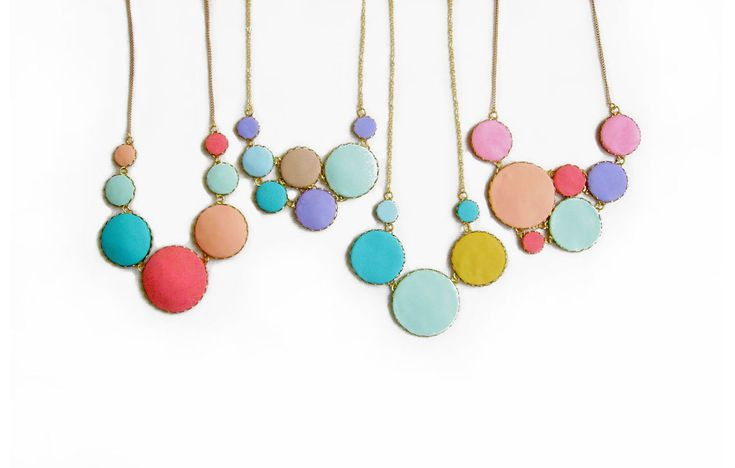 Pastel Bubbles Statement Necklace - Color Dot Collection - Handmade Polymer Clay Statement Necklace. $36.00, via Etsy.