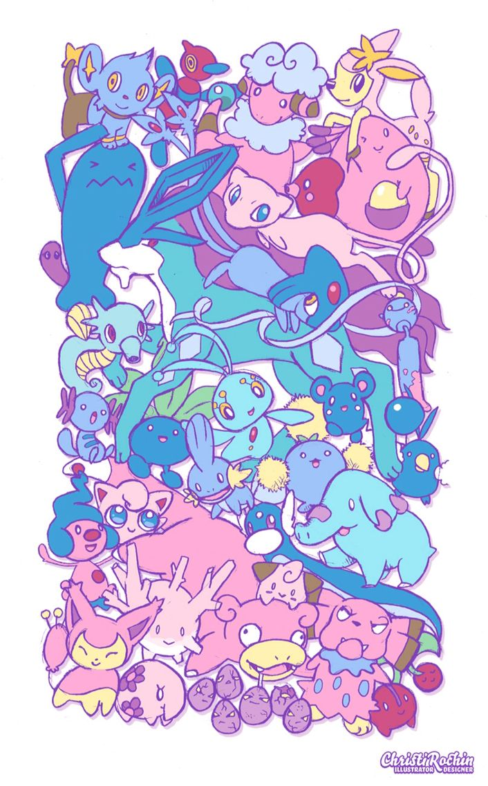Cute pokemon pink and blue ~ mew clefairy horsey chansey jigglypuff slowpoke oddish dratini suicune ~ kawaii barbie bubblegum tumblr