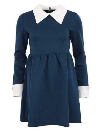 Kling - Modré stylové šaty s bílým límečkem a manžetami  Dali - 1