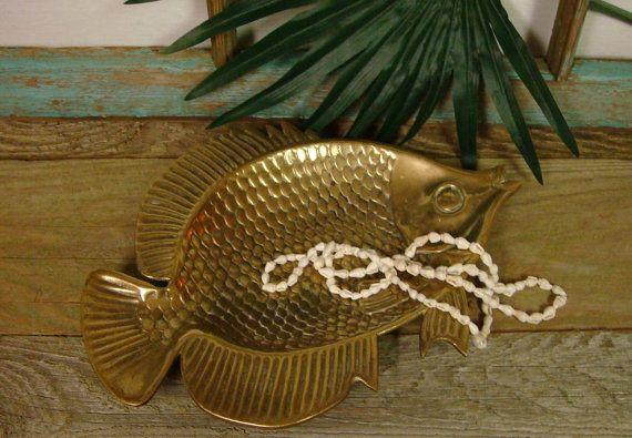 Brass Fish Tray Plate Tropical Beach House Decor by CastawaysHall, $32.00