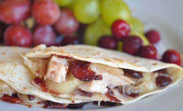 Turkey, Chicken, Brie, & Cranberry Chutney Quesadillas