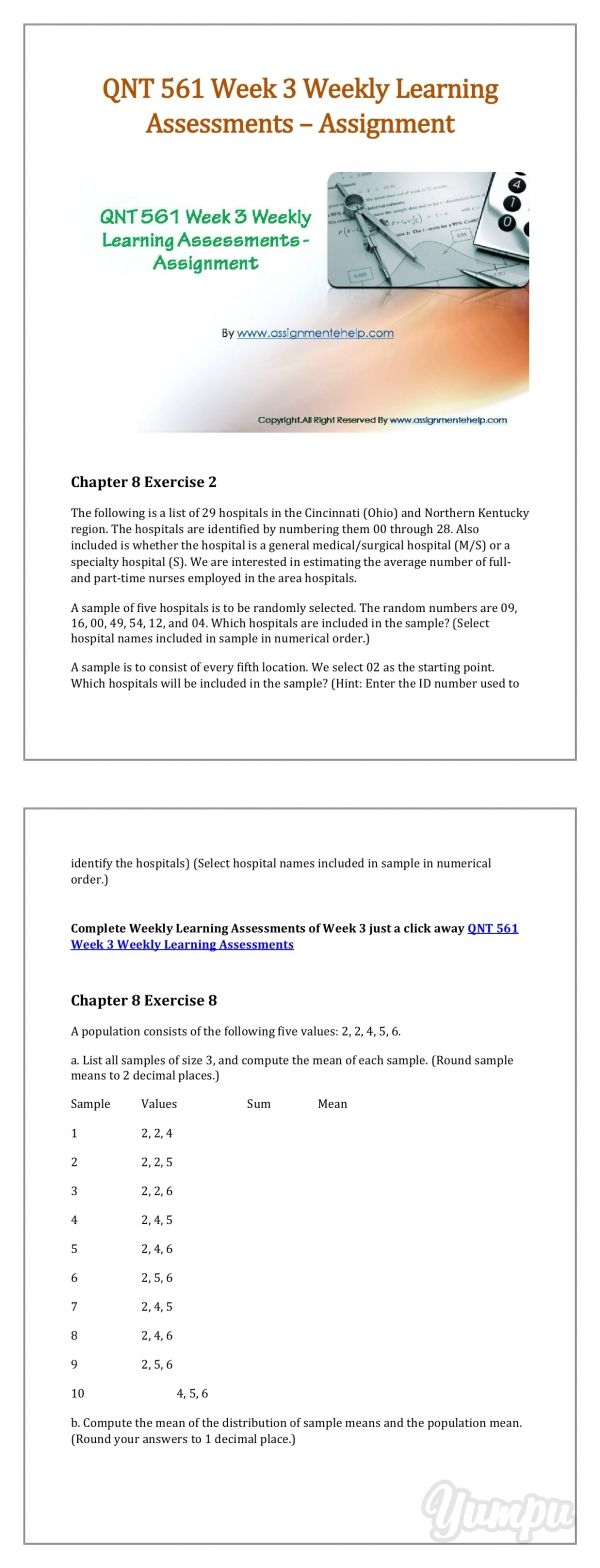 QNT 561 Week 3 Weekly Learning Assessments - Assignment - Magazine with 5 pages: QNT 561 Week 3 Weekly Learning Assessments – Now good grades are easy to get. Join hands with the widest network of learning help available online.