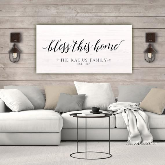 Bless This Home Farmhouse Sign Personalized Canvas Sign Etsy Farmhouse Wall Art Personalized Wall Art Wall Canvas