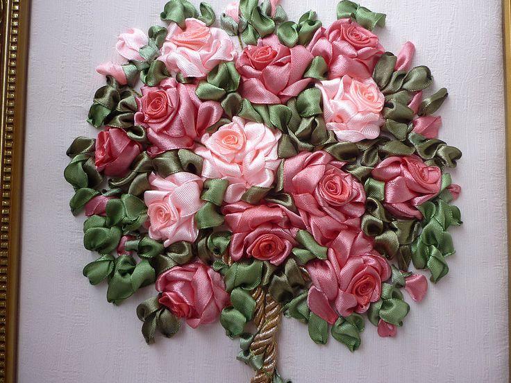 вышивка лентами розы мастер класс - Поиск в Google