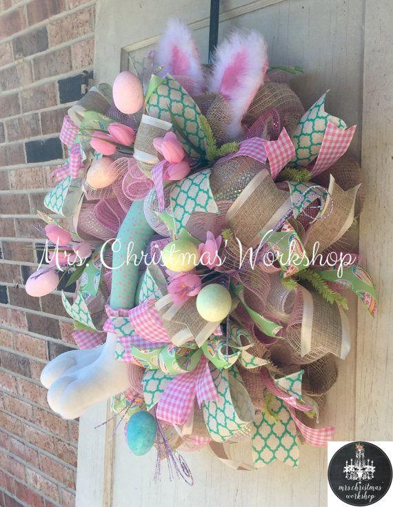 Easter wreath burlap wreath Easter Deco by MrsChristmasWorkshop