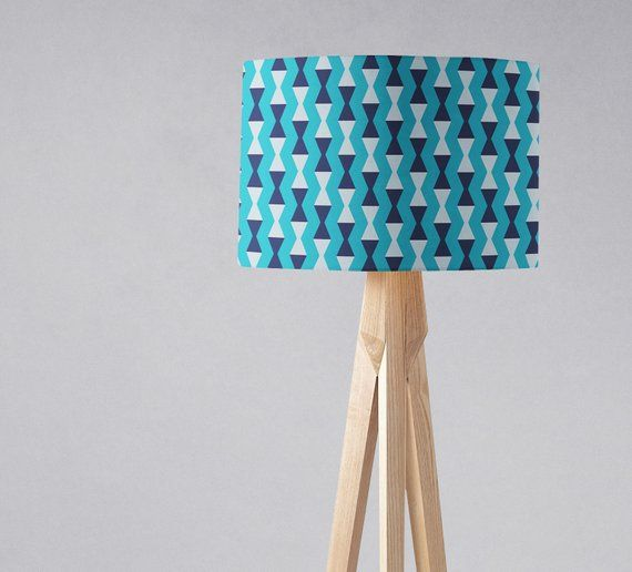 Blue Scandinavian Lampshade Mid Century Modern Aqua Home Decor Retro Lampshade Floor Lampshade Ceiling Light Shade Designer Home Decor With Images Retro Lampshade Fabric Lampshade Geometric Lampshade