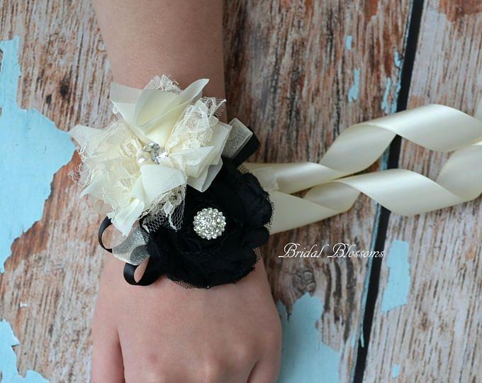 Ramillete de la muñeca de flor gasa negro hermoso y marfil | Ramillete de novia | País cae boda | Madre de la novia baile | Crema | Perla